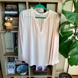 LOFT Pale Pink Silk Tunic Blouse
